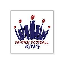 "Fantasy Football King Square Sticker 3"" x 3"""