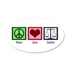Peace Love Justice Oval Car Magnet