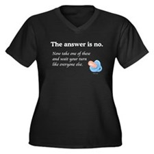The Answer is NO Women's Plus Size V-Neck Dark T-S