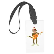 Sock Monkey Acoustic Guitar Luggage Tag