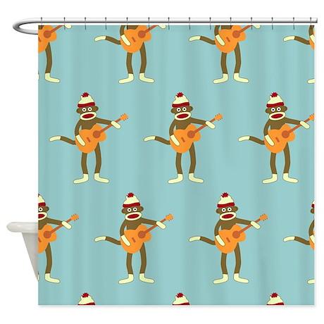 Sock Monkey Acoustic Guitar Shower Curtain