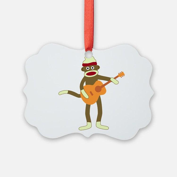 Sock Monkey Acoustic Guitar Ornament