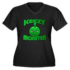 Keezy Monster Women's Plus Size V-Neck Dark T-Shir