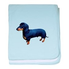 Mini Dachshund at Attention baby blanket