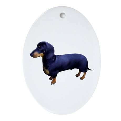 Mini Dachshund at Attention Ornament (Oval)