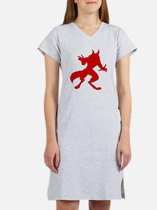 Red Werewolf Silhouette Women's Nightshirt