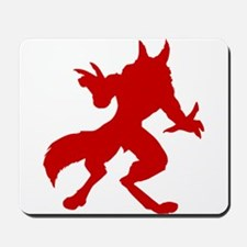 Red Werewolf Silhouette Mousepad