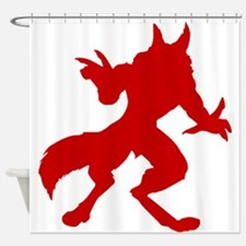 Red Werewolf Silhouette Shower Curtain