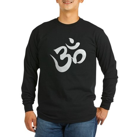 White Om/Aum Shirt Long Sleeve Dark T-Shirt