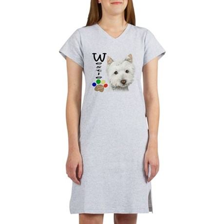 Westie Dog and Paw Print Design Women's Nightshirt