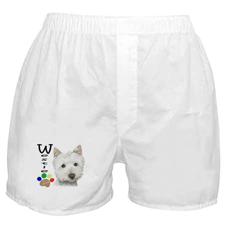 Westie Dog and Paw Print Design Boxer Shorts
