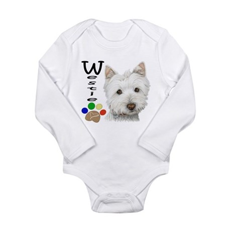 Westie Dog and Paw Print Design Long Sleeve Infant