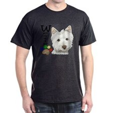 Westie Dog and Paw Print Design T-Shirt