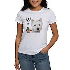 Westie Dog and Paw Print Design Tee