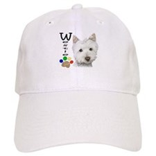 Westie Dog and Paw Print Design Baseball Cap