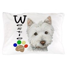 Westie Dog and Paw Print Design Pillow Case