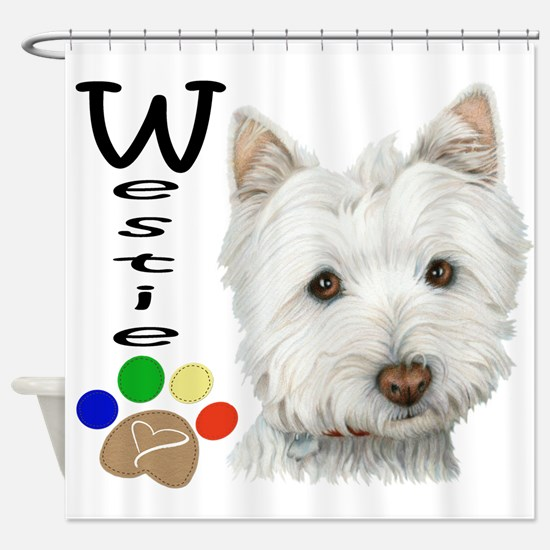 Westie Dog and Paw Print Design Shower Curtain