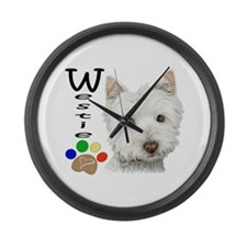 Westie Dog and Paw Print Design Large Wall Clock