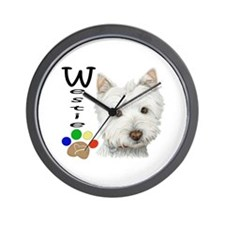 Westie Dog and Paw Print Design Wall Clock