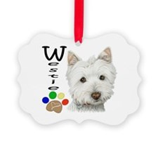 Westie Dog and Paw Print Design Ornament