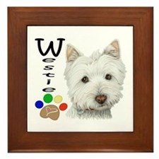 Westie Dog and Paw Print Design Framed Tile