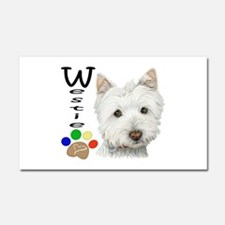 Westie Dog and Paw Print Design Car Magnet 20 x 12