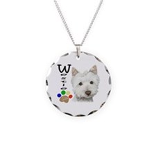 Westie Dog and Paw Print Design Necklace