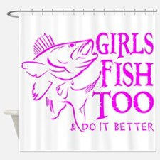 GIRLS FISH TOO WALLEYE Shower Curtain