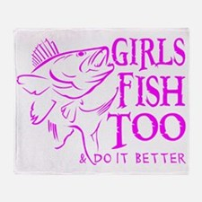 GIRLS FISH TOO WALLEYE Throw Blanket