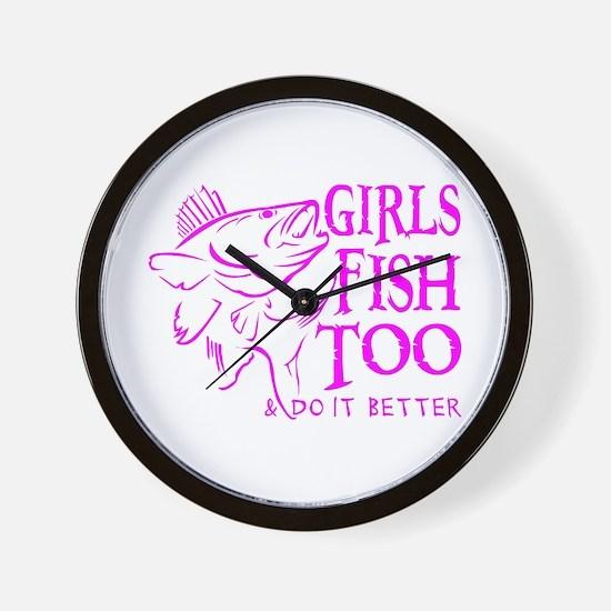 GIRLS FISH TOO WALLEYE Wall Clock