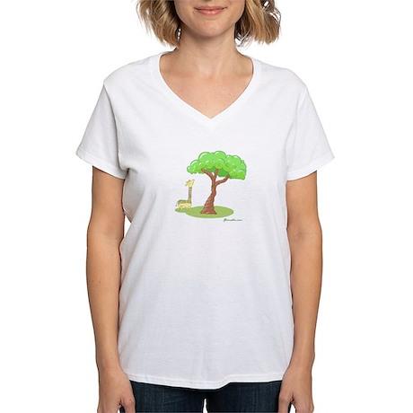 Rainbow Giraffe Women's V-Neck T-Shirt