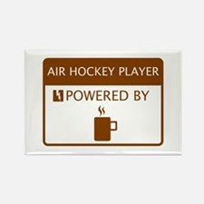 Air Hockey Player Powered by Coffee Rectangle Magn