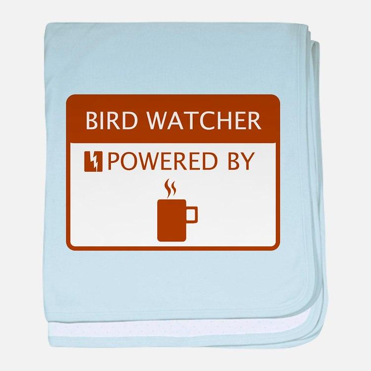 Bird Watcher Powered by Coffee baby blanket