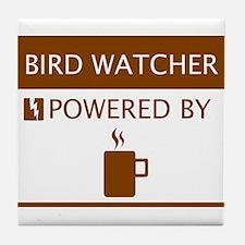 Bird Watcher Powered by Coffee Tile Coaster