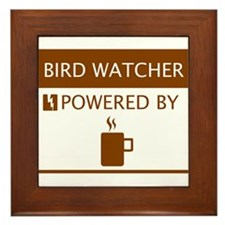 Bird Watcher Powered by Coffee Framed Tile