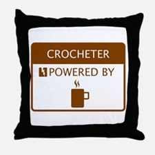 Crocheter Powered by Coffee Throw Pillow