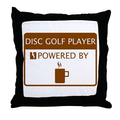Disc Golf Player Powered by Coffee Throw Pillow