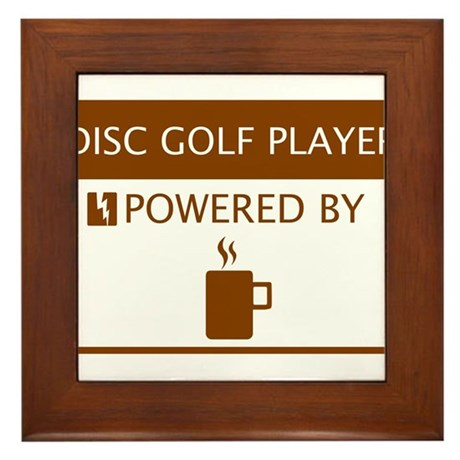 Disc Golf Player Powered by Coffee Framed Tile