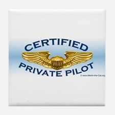 Pilot Wings (gold on blue) Tile Coaster