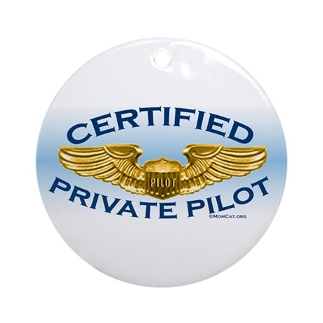 Pilot Wings (gold on blue) Ornament (Round)