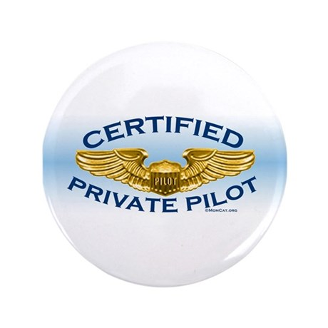 "Pilot Wings (gold on blue) 3.5"" Button"
