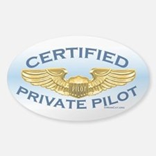Pilot Wings (gold on blue) Sticker (Oval)
