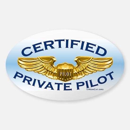 Pilot Wings (gold on blue) Sticker (Oval)