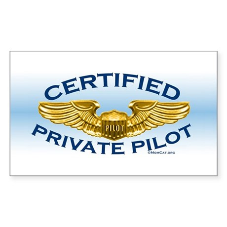Pilot Wings (gold on blue) Sticker (Rectangle)
