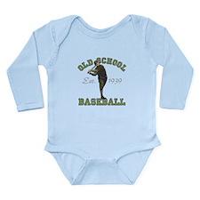Old School Baseball Long Sleeve Infant Bodysuit