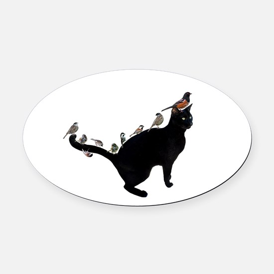 Birds on Cat Oval Car Magnet