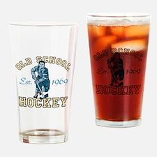Old School Hockey Drinking Glass