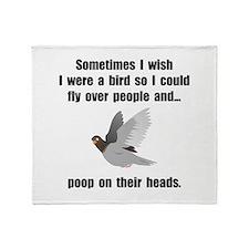 Bird Poop On Head Throw Blanket