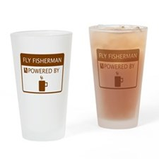 Fly Fisherman Powered by Coffee Drinking Glass