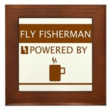 Fly Fisherman Powered by Coffee Framed Tile